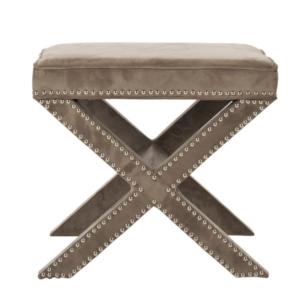 Ottoman podnóżek stołek na krzyżakowych nogach hamptons styl amerykański